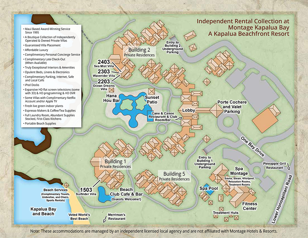 Property Map Montage Residences at Kapalua Beach