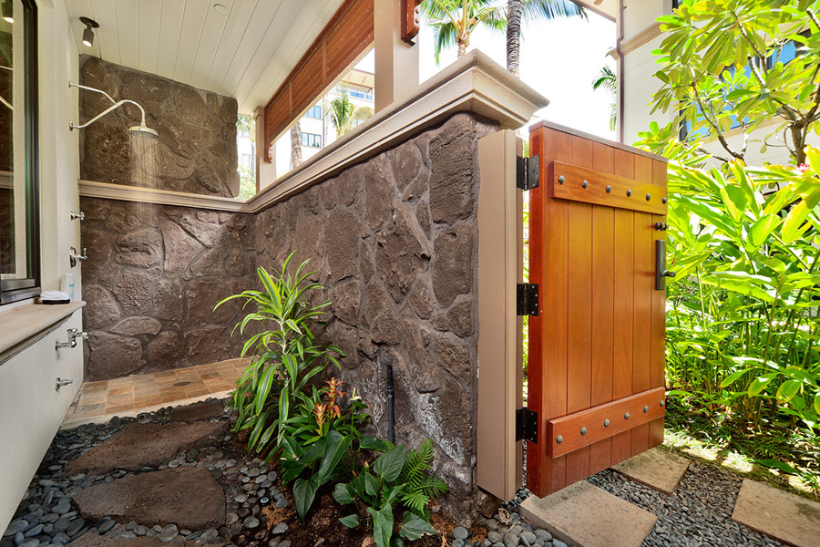 Second Master Bedroom Bath with Outdoor Grotto Shower, Direct Garden Access