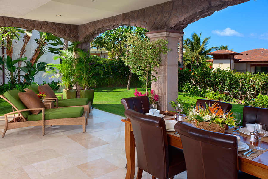 Covered Veranda with Dining and Lounge Chairs