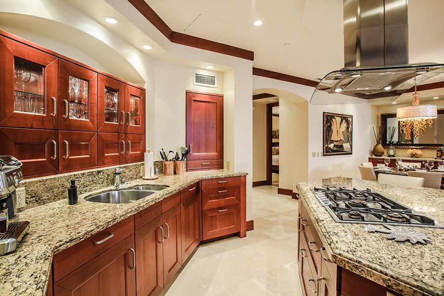 Kitchen with Espresso Machine, Counter Seating For Three and Indoor Dining For 6