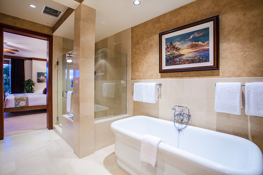 Master Bedroom Bath with Deep Soaking Tub and Separate Glass Shower