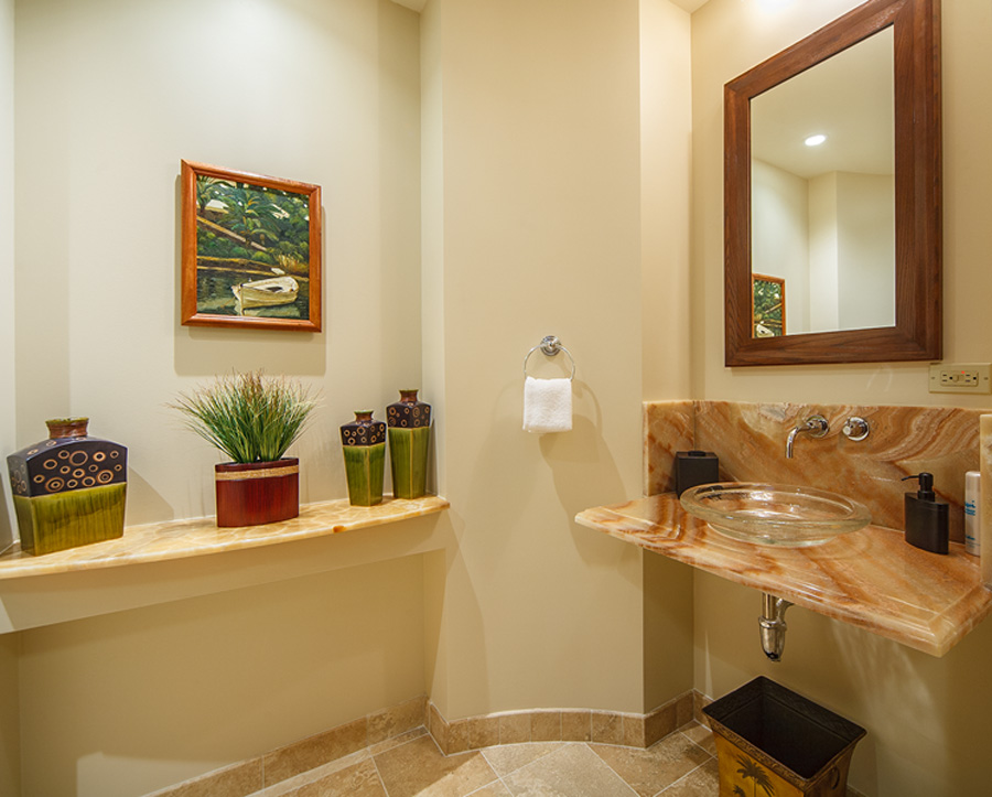 Convenient Powder Room with Original Tropical Oil Painting