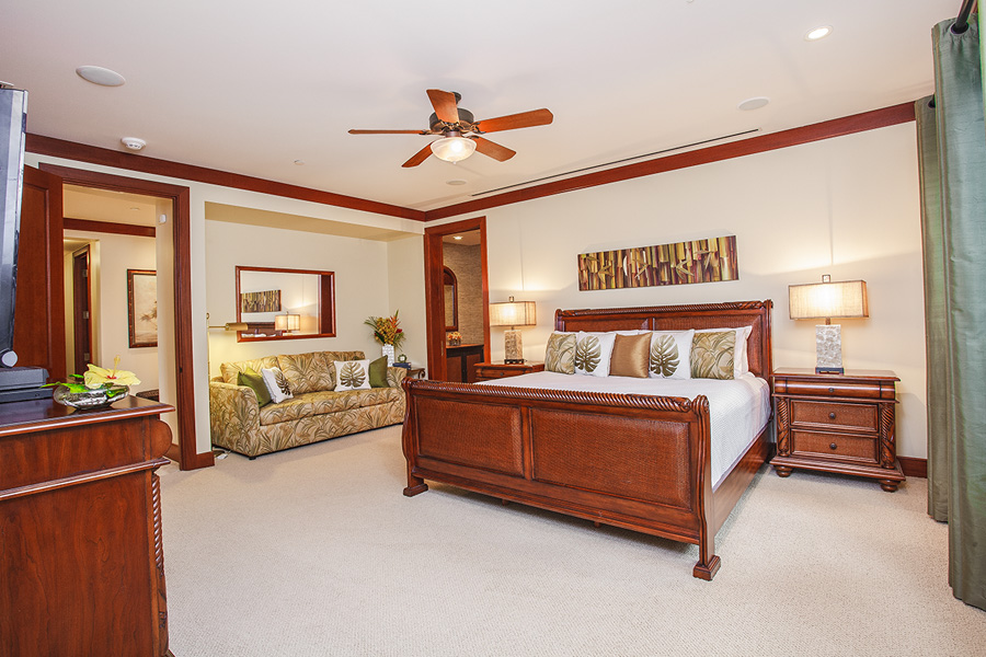 Second Master Bedroom with King Bed and Office Nook and outdoor Grotto Shower