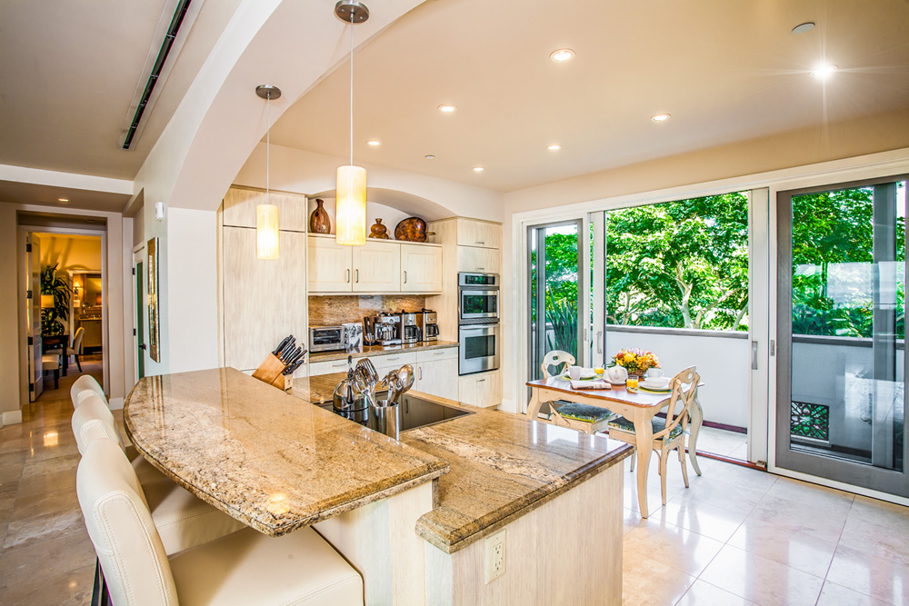 Fully Equipped Gourmet Kitchen with Garden View