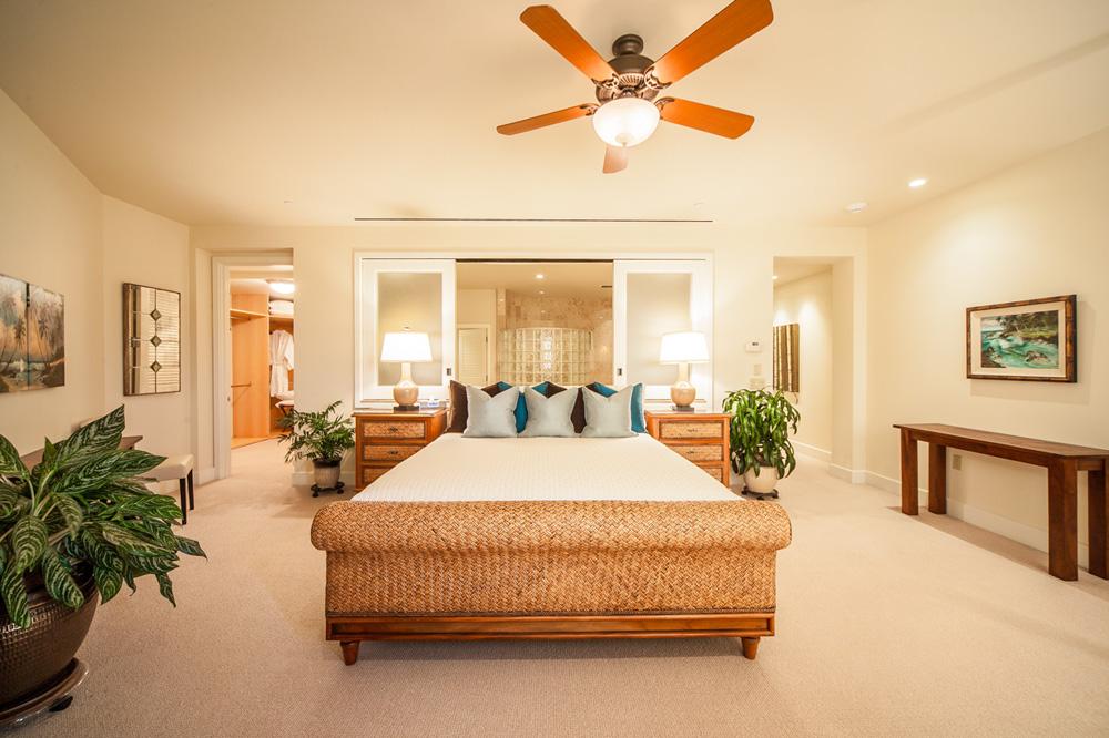 Ocean View Master Bedroom with King Bed, Original Art