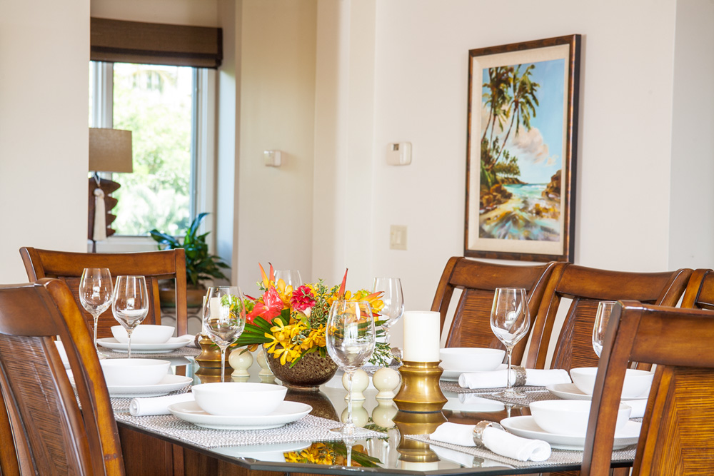Indoor Dining for Eight, Original and Giclee Art by Maui's Premiere Artists