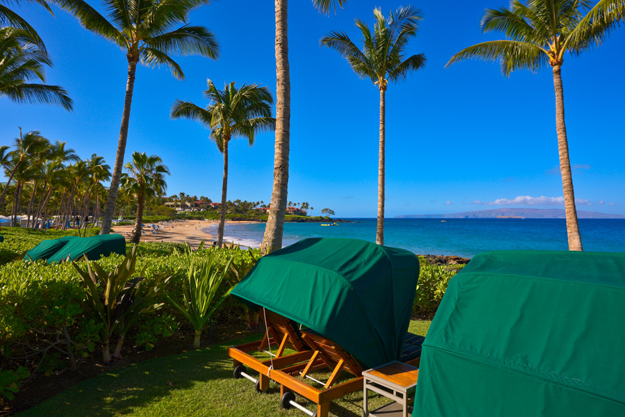 Oceanfront Personal Chaise Lounge Chairs for Guests of Wailea Beach Villas
