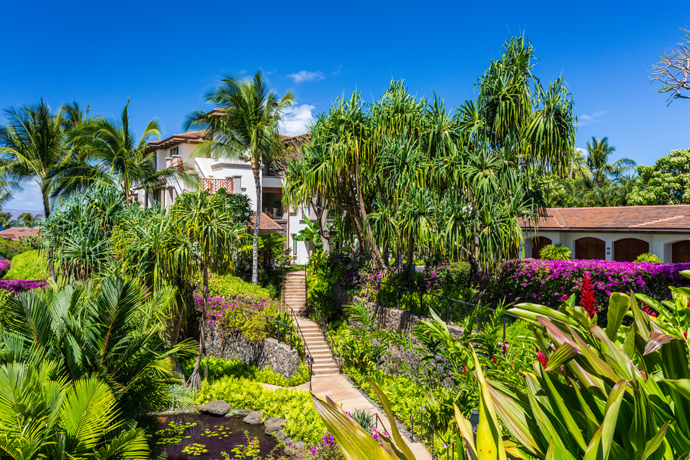Beautiful Gardens with Brightly Colored Flowers Throughout Wailea Beach Villas