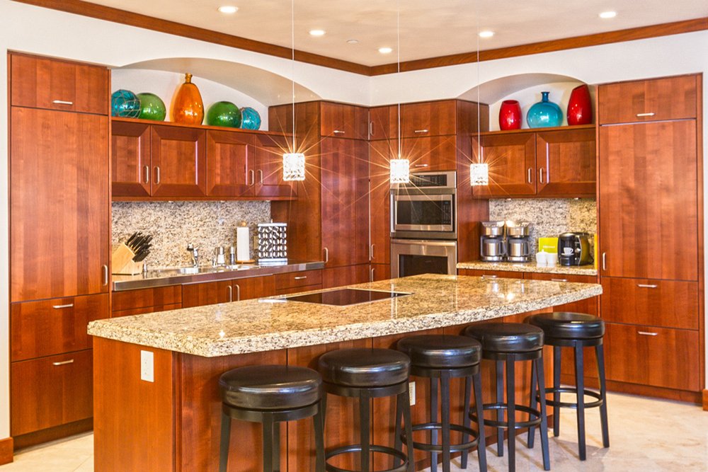 Spacious Gourmet Kitchen with Five Bar Stools