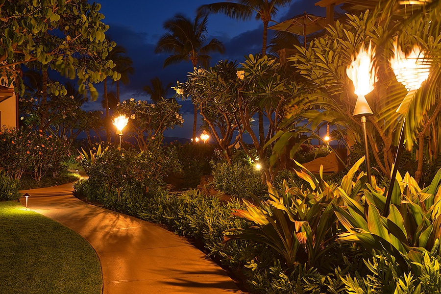 Tiki Torches Light the Pathways throughout Wailea Beach Villas from Dusk to Dawn