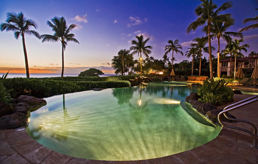 Twilight at the Exceptional Infinity-Edge Heated Adults-Only Pool for Wailea...