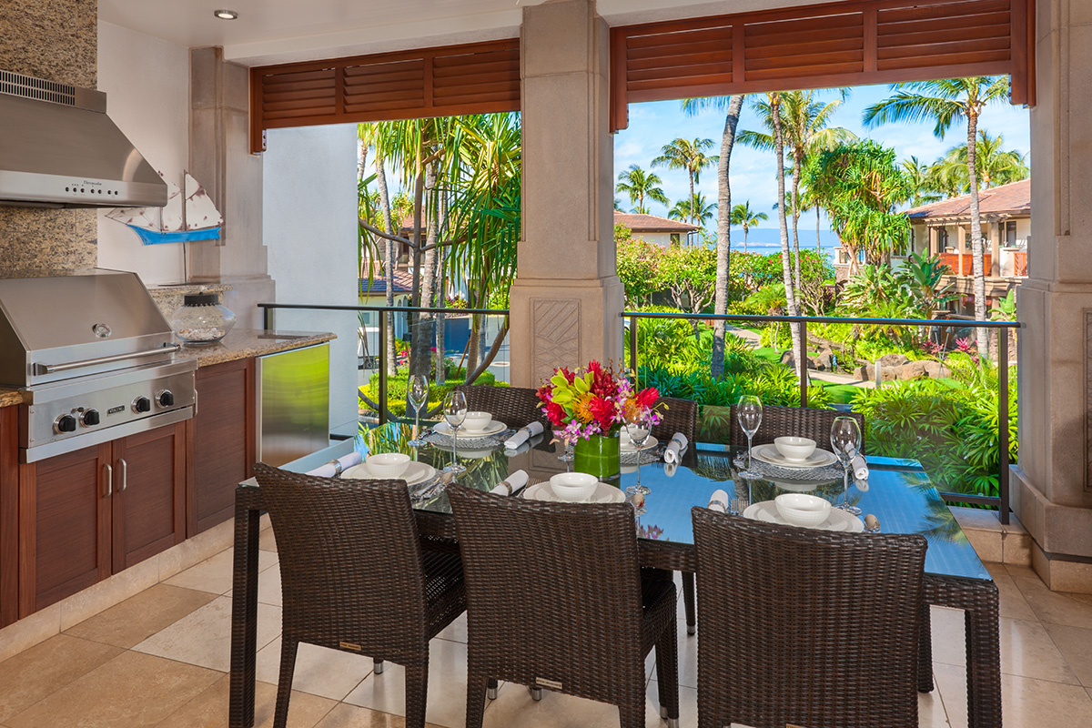 Ocean View Fresh Air Covered Dining Terrace with Viking BBQ Grill