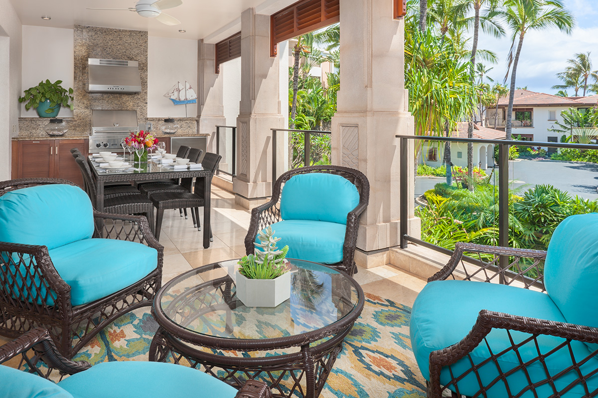 Ocean View Fresh Air Covered Dining Terrace with Viking BBQ Grill, Lounging Area