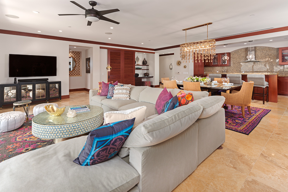 Partial Ocean View Colorful Great Room with New Furnishings & Decor