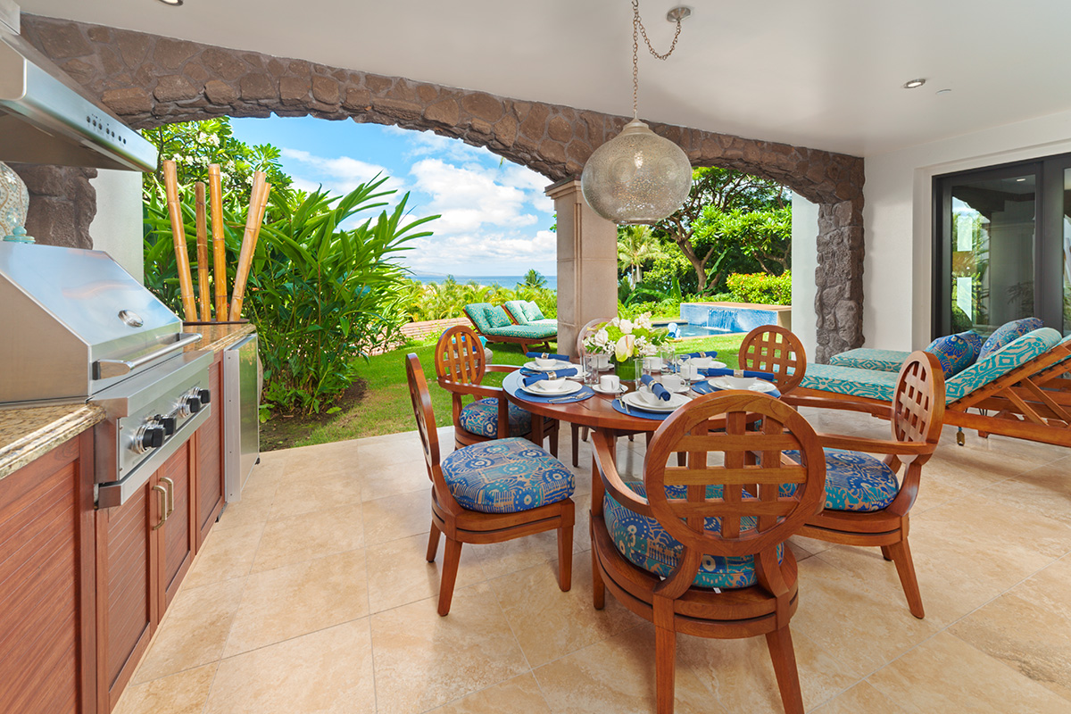 Indoor/Outdoor Living with Partial Ocean View, Covered Veranda, Viking Gas Grill